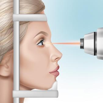 Illustrazione realistica della correzione della visione laser