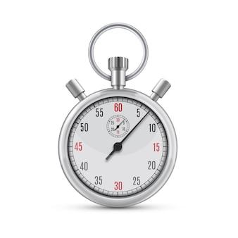 Illustrazione realistica del cronometro analogico meccanico cromato metallico su priorità bassa bianca. simbolo di velocità o successo sportivo. attrezzatura sportiva