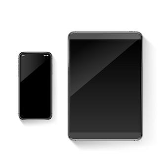 Illustrazione realistica dei gadget moderni. insieme di vettore del telefono cellulare e del tablet. vect
