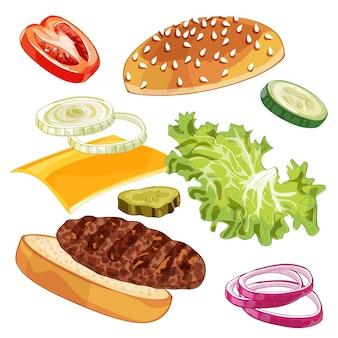 Modello di illustrazione realistica di saltare hamburger, delizioso hamburger esploso con ingredienti lattuga, cipolla, tortino, pomodoro, formaggio, panino isolato su sfondo bianco