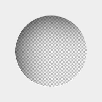 Illustrazione realistica di carta bianca con ombra, foro a forma rotonda su sfondo trasparente con cornice per testo o foto.