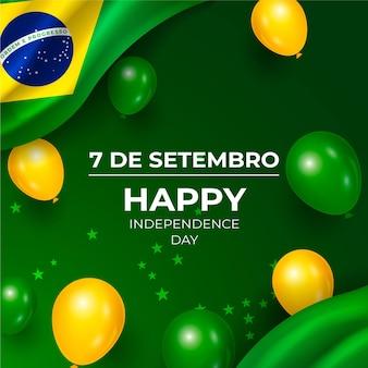 Realistico giorno dell'indipendenza del brasile sfondo con palloncini
