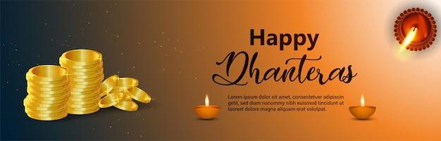 Insegna felice di celebrazione di dhanteras di festival indiano realistico
