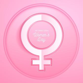 Giornata internazionale della donna realistica in stile carta Vettore Premium