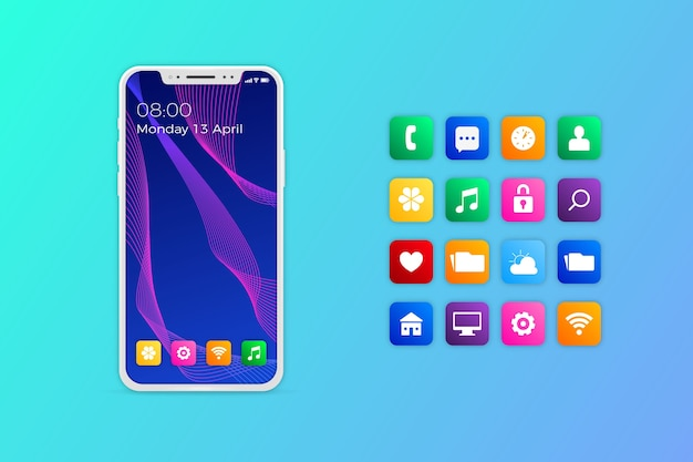 Iphone realistico con applicazioni