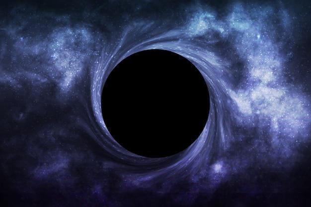Buco nero isolato realistico nello spazio