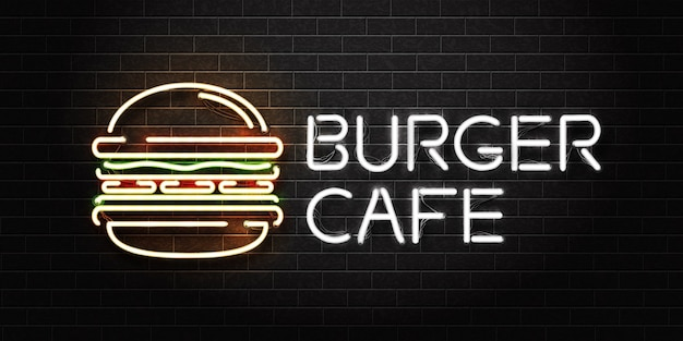 Insegna al neon isolata realistica del caffè dell'hamburger