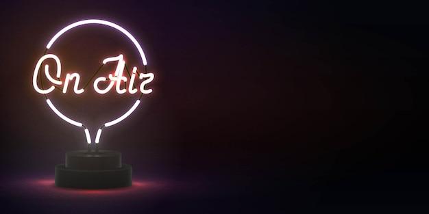Insegna al neon isolata realistica di in onda