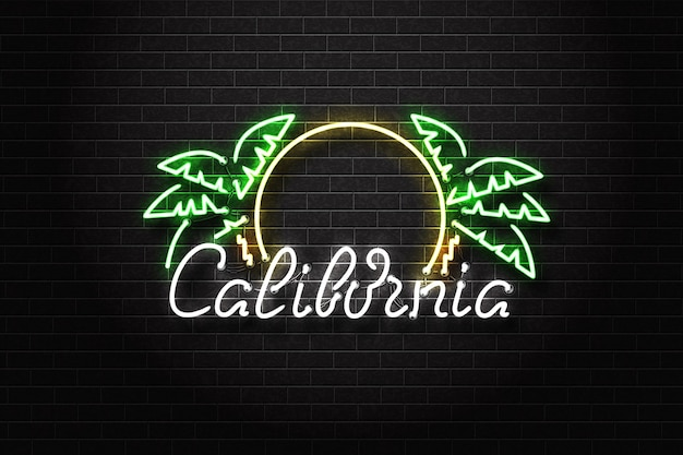Segno al neon isolato realistico del logo di tipografia della california sullo sfondo della parete.
