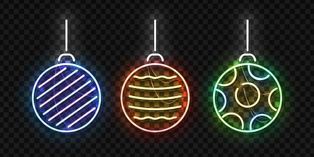 Insegna al neon isolata realistica delle palle di natale per buon natale e felice anno nuovo per la decorazione dell'invito