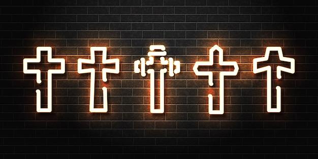 Insegna al neon isolata realistica dell'insieme della croce