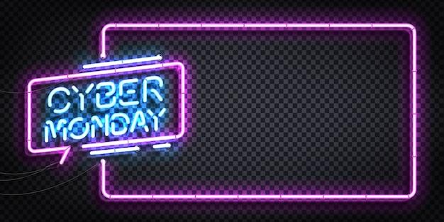 Segno al neon isolato realistico di cyber monday