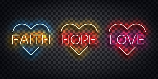 Segno al neon isolato realistico del logo di fede, speranza e amore per la decorazione del modello e la copertura del layout sullo sfondo trasparente. concetto di buona pasqua e cristianesimo.