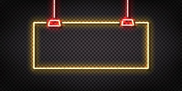 Segno al neon isolato realistico di appendere cornice gialla per modello e layout.