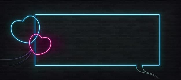 Segno al neon isolato realistico del telaio del cuore. concetto di buon san valentino.