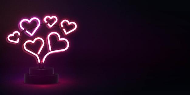 Insegna al neon isolata realistica del cuore con lo spazio della copia per il fondo dell'invito. concetto di felice giorno di san valentino.