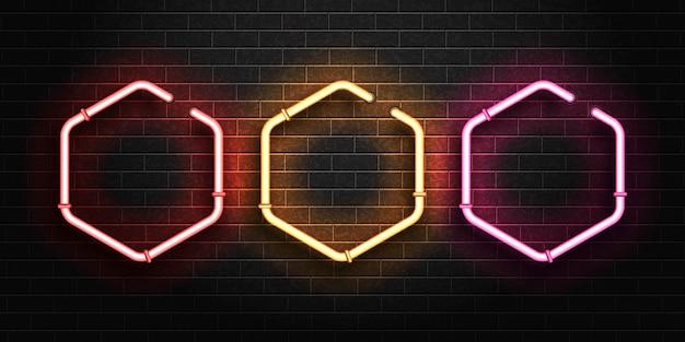 Insegna al neon isolata realistica del set di frame esagonale