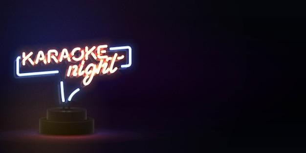 Insegna al neon isolata realistica del testo di notte di karaoke