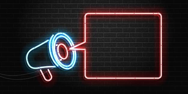 Segno al neon isolato realistico del modello di cornice del megafono