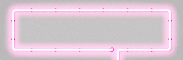 Insegna al neon isolata realistica della cornice rettangolare rosa per modello e layout su sfondo bianco