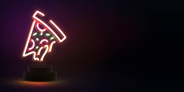 Insegna al neon isolata realistica del logo della pizza con lo spazio della copia per il modello dell'invito. concetto di ristorante, caffetteria, pizzeria e cucina italiana.