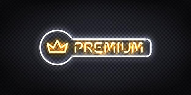 Insegna al neon isolata realistica di premium con un logo della corona.
