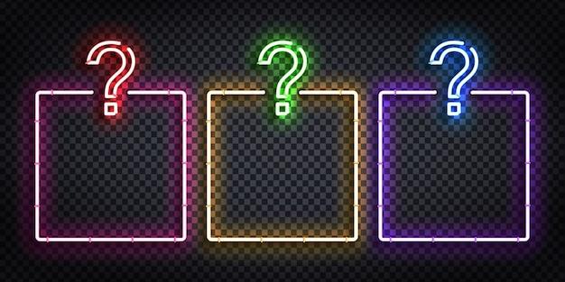 Segno al neon isolato realistico del logo di cornici quiz per la decorazione del modello e la copertura sullo sfondo trasparente. concetto di quiz notte e domanda.