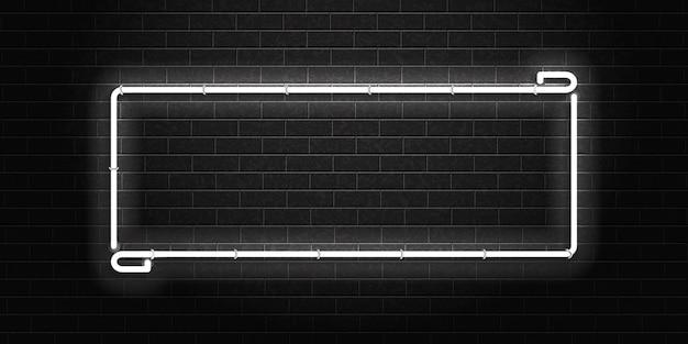 Insegna al neon isolata realistica del telaio rettangolare