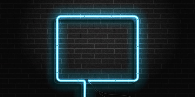 Cornice quadrata realistica del segno al neon isolato
