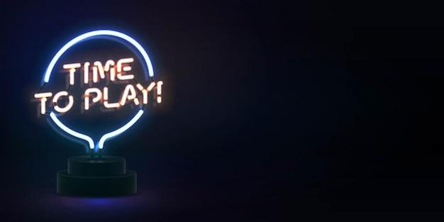 Insegna al neon isolata realistica del logo time to play per la decorazione e il rivestimento del modello. concetto di gioco.