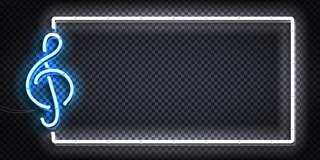 Segno al neon isolato realistico del logo del telaio chiave di violino