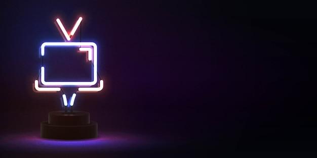 Insegna al neon isolata realistica del logo della tv per la decorazione del modello e la copertura dell'invito. concetto di cinema.
