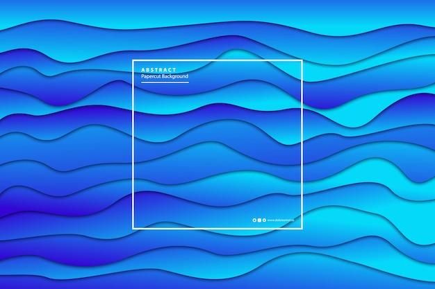 Sfondo blu sfumato realistico isolato papercut per la decorazione e il rivestimento.
