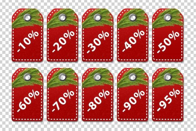 Cartellini dei prezzi isolati realistici per la vendita di natale per la decorazione e la copertura sullo sfondo trasparente