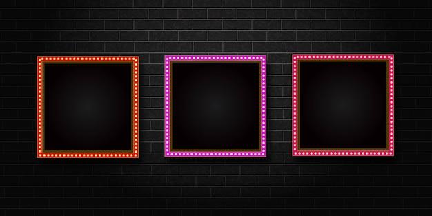 Insieme del telaio del tabellone per le affissioni quadrato retrò isolato realistico
