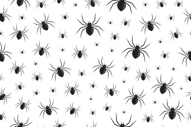 Modello senza cuciture isolato realistico con i ragni per la decorazione e la copertura sui precedenti bianchi. sfondo inquietante per halloween.