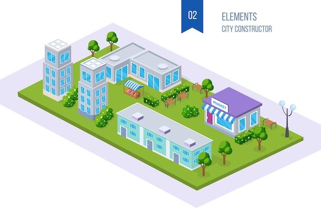 Isometrica realistica della città, megalopoli, con edifici alti, grattacieli, edificio scolastico, infrastrutture cittadine, parco.