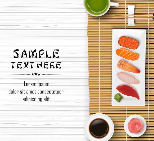 Sushi giapponesi realistici sul fondo della tavola in legno