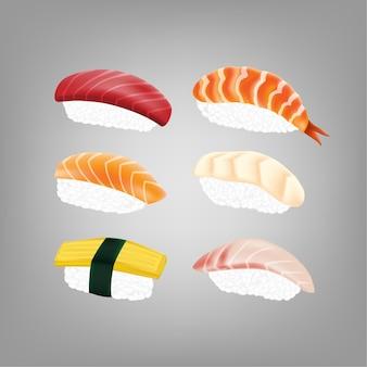 Sushi giapponese realistico Vettore Premium