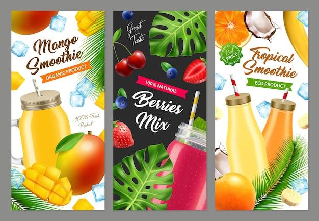 Set di banner di frullato cocktail barattolo realistico ¡