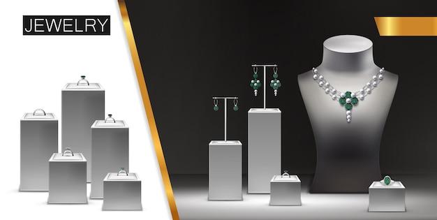 Realistico concetto di pubblicità di gioielli con collana in argento, orecchini, anelli con diamanti, gemme, gioielli su espositori e illustrazione di manichino