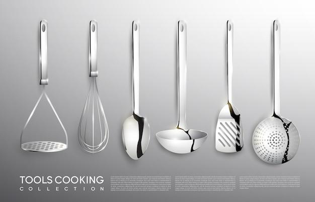 Set di strumenti di cottura argento cucina realistica