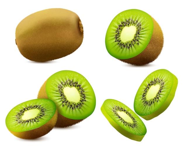 Kiwi realistico. succosa frutta esotica intera, metà e fetta. alimenti biologici freschi per un'alimentazione sana. bacca tropicale matura per dessert. disegno vettoriale 3d.