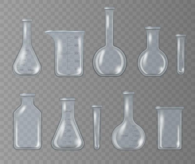 Becher da laboratorio realistico, boccetta di vetro e altri contenitori chimici