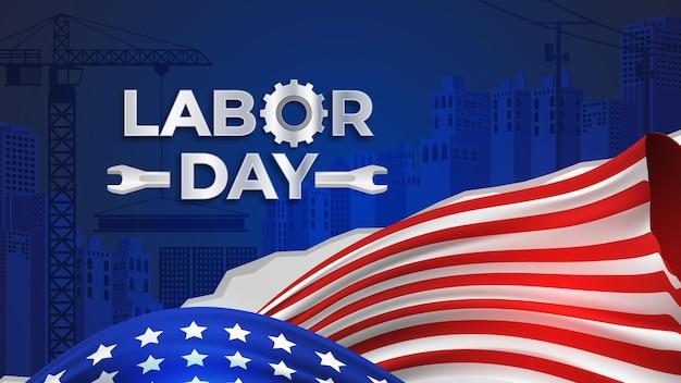 Festa del lavoro realistica con sfondo bandiera americana