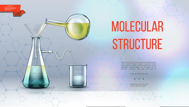 Realistico concetto di ricerca di laboratorio con struttura molecolare e attrezzature di laboratorio per esperimenti chimici su illustrazione luminosa