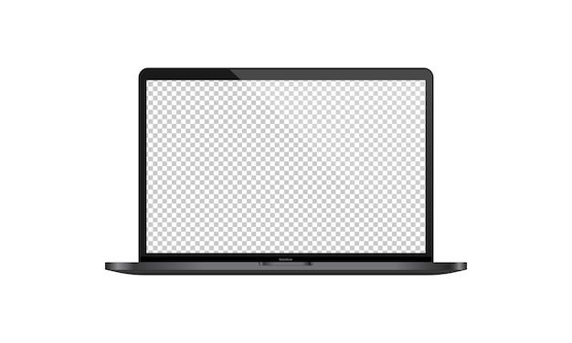 Illustrazione realistica dell'esposizione del computer portatile. monitor vuoto trasparente. schermo. vettore env 10. isolato su priorità bassa bianca.