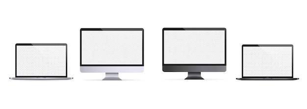Computer portatile realistico, taccuino. illustrazione del monitor del computer. tema chiaro e scuro. icona del monitor del computer. display vuoto bianco. vettore eps 10. isolato su sfondo trasparente