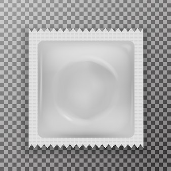 Preservativo in lattice realistico sullo sfondo trasparente. concetto di metodo contraccettivo e protezione sessuale.