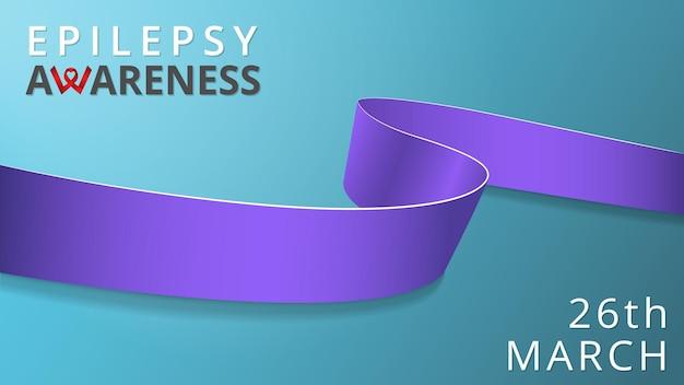 Nastro di lavanda realistico. manifesto del mese di sensibilizzazione sull'epilessia. illustrazione vettoriale. concetto di solidarietà per la giornata mondiale dell'epilessia. sfondo blu. simbolo del cancro.